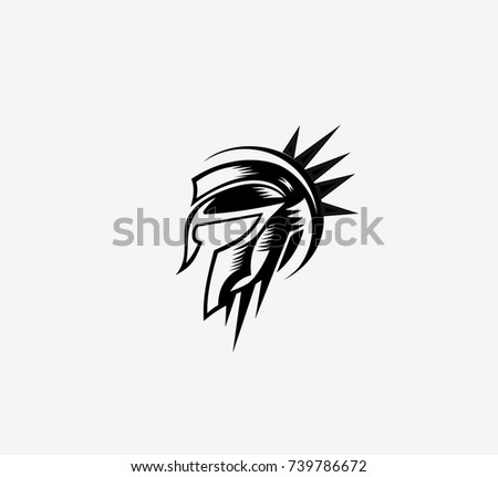 Hand Drawn Spartan Helmet Warrior Roman Stock Vector Royalty Free