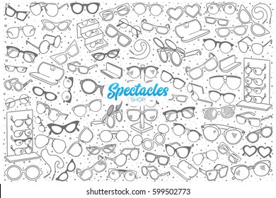Hand drawn spectacles shop doodle set background with blue lettering in vector