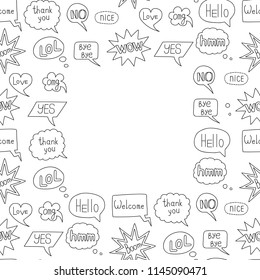 Hand drawn speech bubble doodle seamless frame. Outline wallpaper isolated on white background. Repeat communication messages for textile print, web design, wrapping template with text place.