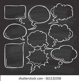 Hand drawn speech bubble doodle on black board