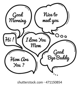 Hand drawn speech bubble, speech bubble doodle collection