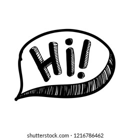 Hand drawn speech bubble with hi text. Vector illustration