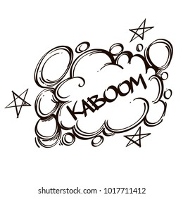 Hand drawn speech bubble with inscription KABOOM. Vector illustration isolated on white background.