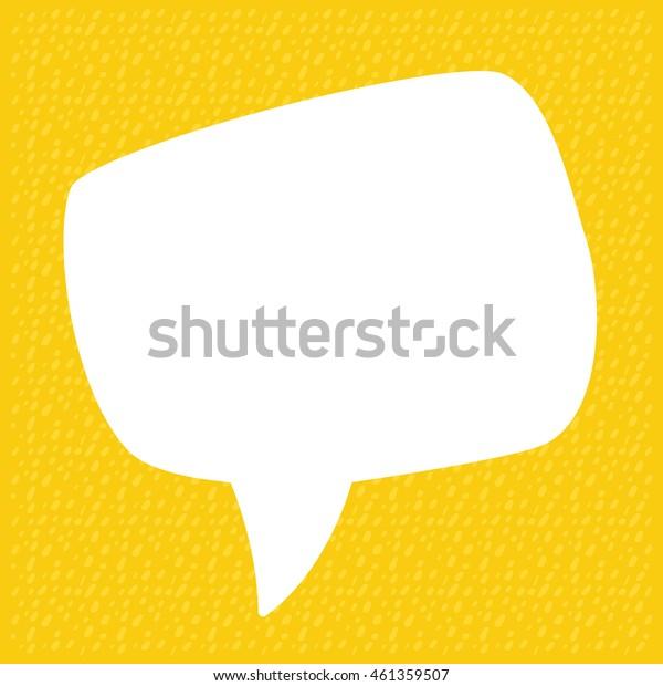 Hand Drawn Speech Bubble on Yellow Background