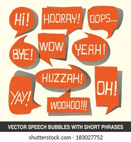 Hand drawn speech bubble set with short phrases (oh, hi; yeah, wow, yay, bye, hooray, woohoo, huzzah, oops) on white background -  vector illustration