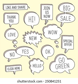 Hand drawn speech bubbles / callouts set with different messages. Vector illustration