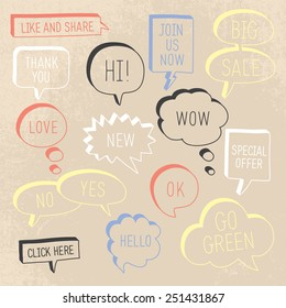 Hand drawn speech bubbles / callouts set with different messages on grunge background. Vector illustration