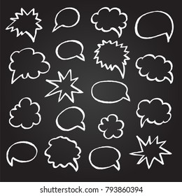 Hand drawn speech bubbles. Chalk design. Vector illustration
