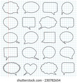 Hand drawn speech bubbles on a notebook sheet