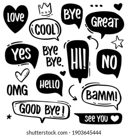 Hand drawn speech bubbles with popular message words.