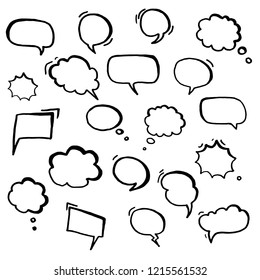 Hand drawn speech bubbles. Set, collection of speech bubbles. Vector illustration isolated on white background. EPS 10