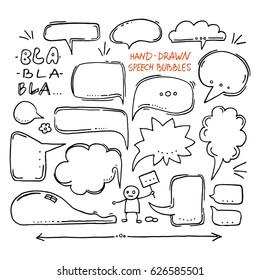 Hand drawn speech bubbles. Set of doodles.
