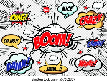 Hand drawn of speech comic bubbles. Comic sound effect.Vector illustration.