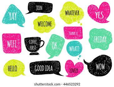 Hand drawn speech  thought bubbles set. Sticker Template for notebooks, scrapbooking, wrapping, cards, poetry notes, diary. Doodle design with short messages. Hello, welcome, good idea, coffee time