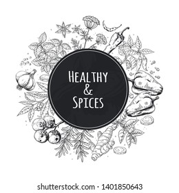 Hand drawn spices background. Asian and Indian food herbs and spices, gourmet menu sketch elements. Cooking vector poster kitchen vegetable ingredients