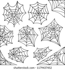 Hand drawn spider web Halloween symbol. Cobweb decoration elements collection. Halloween cobweb vector frame and borders for scary design