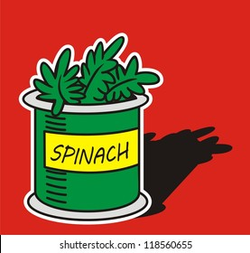 Hand drawn of  spinach on red background