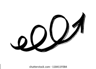 Hand drawn spiral arrow isolated on white background. Brush stroke. Grunge texture.