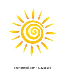 Hand drawn spiral shinny sun. Vector graphic illustration