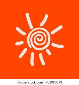 Hand drawn spiral shinny sun.