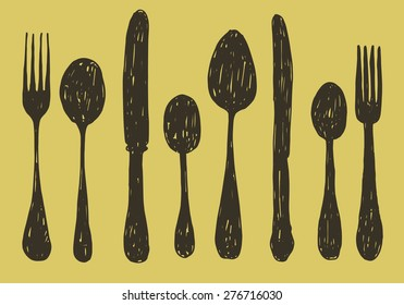 hand drawn spoon, fork and knife collection. vector illustration