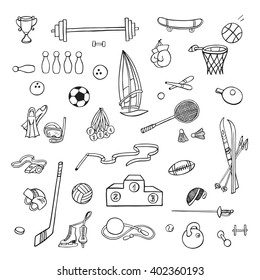 Hand drawn sport equipment. Doodle icons.