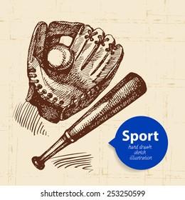 Hand drawn sport object. Sketch tennis rackets. Vector illustration