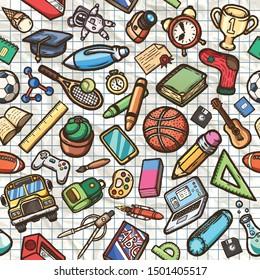 Hand drawn sports seamless pattern. Vector illustration.