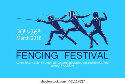 Hand drawn sportsman silhouette. Vector illustration of fencers in attack with foil, sabre, epee. Tournament for all weapons.  Fencing competition advertising design.