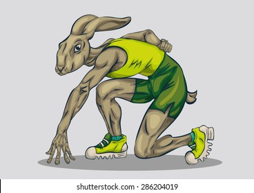 hand drawn sporty rabbit wearing sport shoes, shirt and shorts ready to start running. perfect for sports design