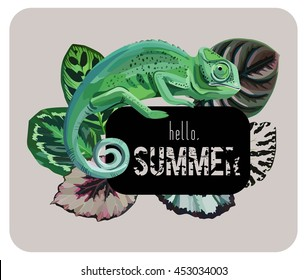 Hand drawn spotted green chameleon with a beautiful begonia leaf. Trendy slogan hello summer on a black background