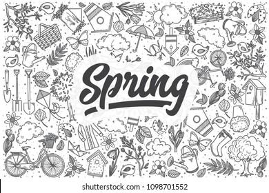 Hand drawn spring doodle set. Lettering - Spring