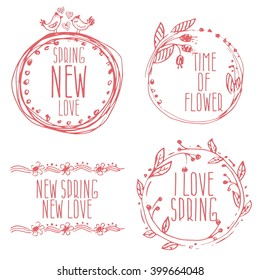 Hand Drawn spring labels with flowers,branches and leaves. Vector illustration template