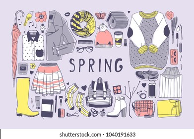 Hand drawn spring pattern. Cute vector background. Artistic doddle drawing. Creative ink art work. Fashion illustration season objects