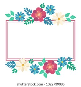 Hand drawn spring typography poster with cute colorful flowers in flat style. Vector illustration for 8 March Woman's Day, Mother's Day, greeting cards, invitations. Frame for sale flayers, web design
