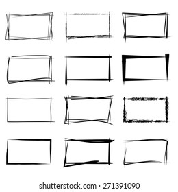 hand drawn square frames, black highlighting frames