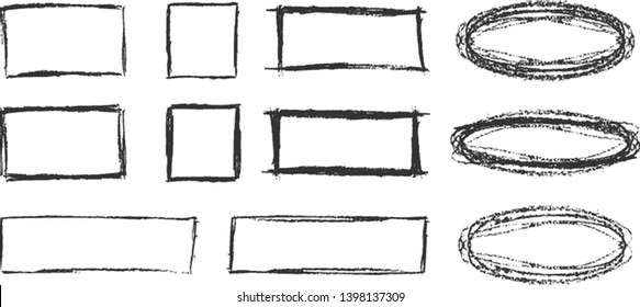 Hand drawn square and oval pencil scribble frames set. Edge torn box background. Vector isolated illustration.