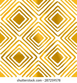 Hand drawn square shapes pattern in golden and white.
