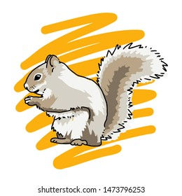 Hand drawn squirrel logo, vector illustration