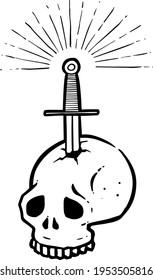 hand drawn stabbed skull by a sword. Vector illustration.