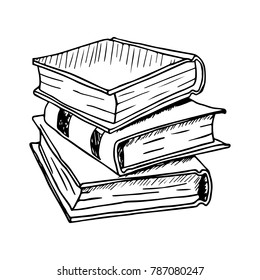 Hand Drawn Stack of Books. Vector illustration