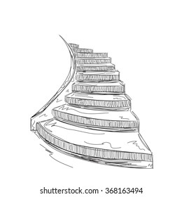 Hand drawn staircase sketch.