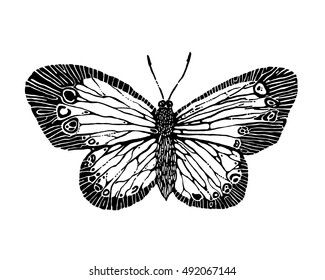 Hand Drawn Stamp Butterfly Silhouette Insect Sketch For Design And Scrapbooking