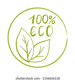 Hand drawn stamp with texture. Sticker for 100% eco products. Packaging concept