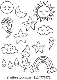 Hand Drawn Star Moon Cloud Sun Raindrop Kawaii Illustration