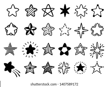 Hand drawn stars. Doodle drawing star, starry sketch and favorites star icon isolated vector illustration set