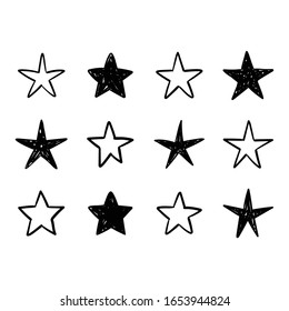 Hand drawn stars, doodle star collection.