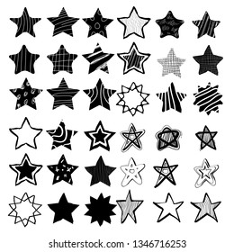 hand drawn stars in doodle style. Could be used for pattern or standalone element. vector
