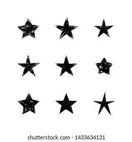 Hand drawn stars set. Star doodles collection.
