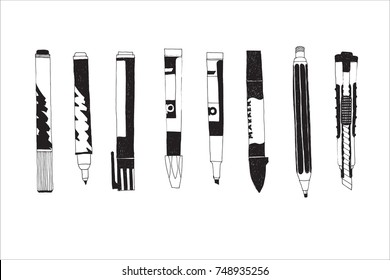 Hand drawn stationery and art supplies set. Vector doodle illustration. Set of school accessories and tools. Pen, Pencil, Felt pen, Brush, Sharpener, Stamper, Push Pin, Binder Paper Clip.
